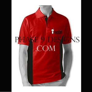 Customized Collar Tshirt (Red- Design-5)