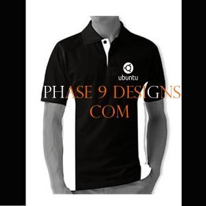 Customized Collar Tshirt (Black- Design-20)