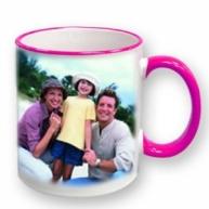 Customised Mug- Colored Rim Handle Mug (Pink)