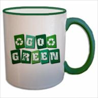 Customised Mug- Colored Rim Handle Mug (Green)
