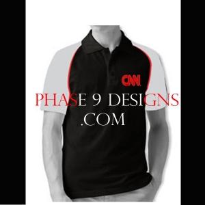 Customized Collar Tshirt (Black- Design-24)