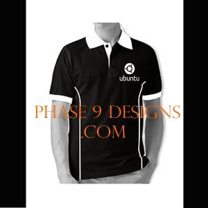 Customized Collar Tshirt (Black- Design-17)
