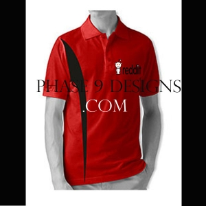 Customized Collar Tshirt (Red- Design-2)