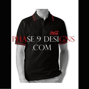 Customized Collar Tshirt (Black- Design-14)