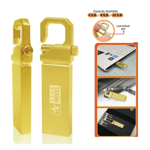 Gold Finish Pendrive with Lock