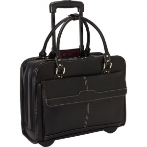 Customised Leather Laptop Bag with Trolley- 910