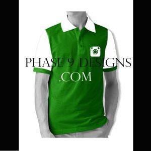 Customized Collar Tshirt (Green- Design-9)