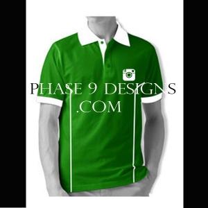 Customized Collar Tshirt (Green- Design-7)
