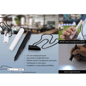 Customized Whistle Pen with Lanyard & Torch (NB91009)
