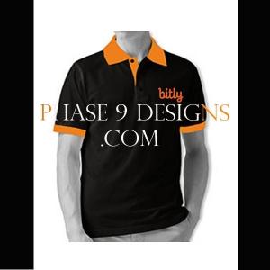 Customized Collar Tshirt (Black- Design-3)