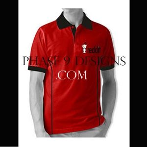 Customized Collar Tshirt (Red- Design-1)