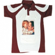 Sub Collared Photo Tshirt (White-Brown)