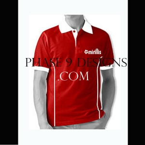 Customized Collar Tshirt (Red- Design-12)