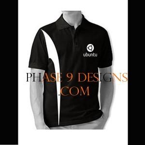 Customized Collar Tshirt (Black- Design-18)