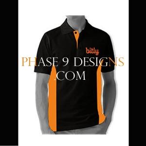 Customized Collar Tshirt (Black- Design-5)