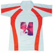 Sub Collared Photo Tshirt (White-Orange)