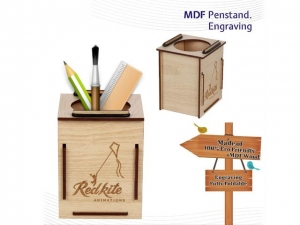 Customized Wood Engraved  Pen Holder- NB908