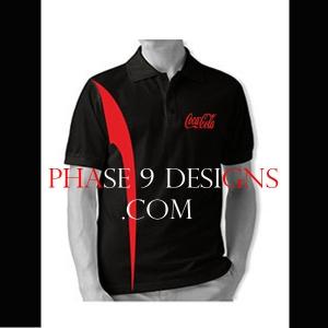 Customized Collar Tshirt (Black- Design-9)