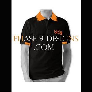 Customized Collar Tshirt (Black- Design-4)