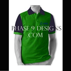 Customized Collar Tshirt (Green- Design-13)