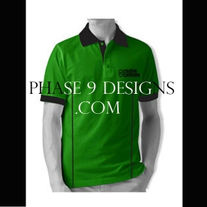 Customized Collar Tshirt (Green- Design-1)