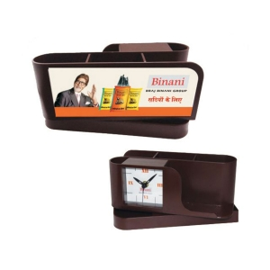 Customized Revolving Pen Holder With Clock -NB9589