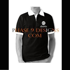 Customized Collar Tshirt (Black- Design-19)