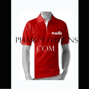 Customized Collar Tshirt (Red- Design-17)