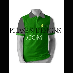 Customized Collar Tshirt (Green- Design-12)