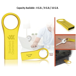Gold Finish Pendrive with Keyring Holder-2