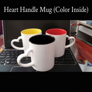 Customized Color Inside Mug With Heart Handle