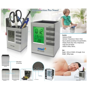 Customized Cube Stationery Holder With Digital Clock- 94459